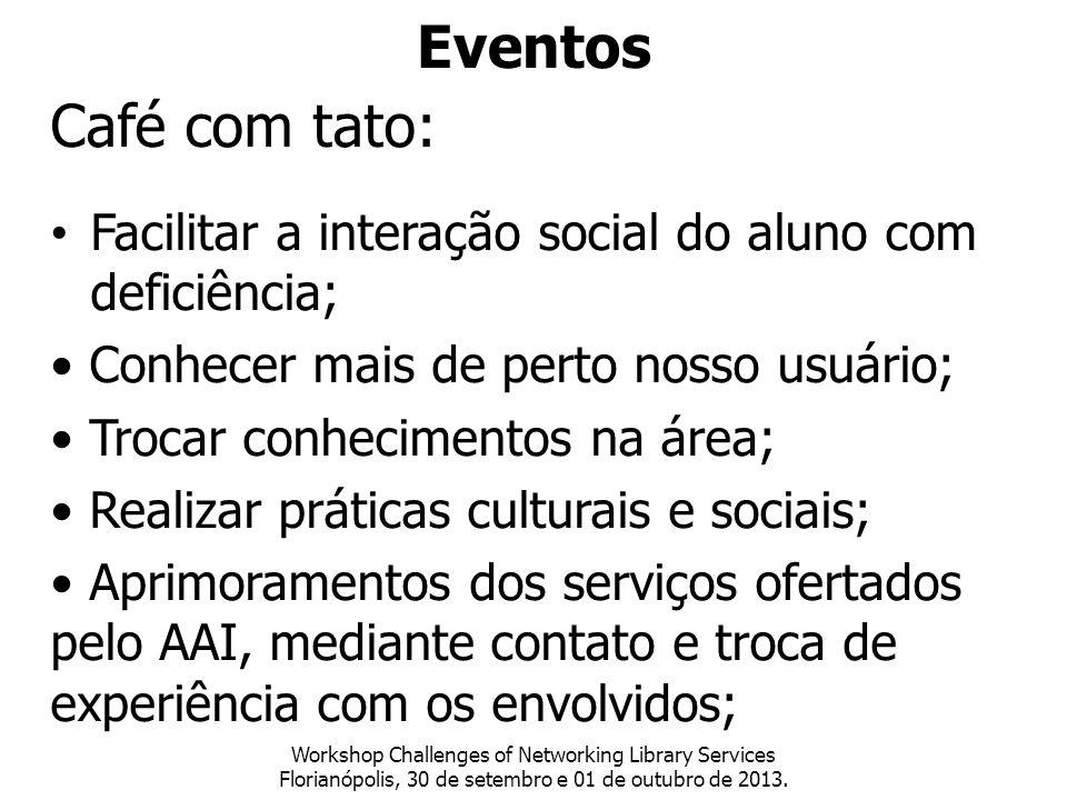 Eventos Café com tato: Facilitar a interação social do aluno com deficiência; • Conhecer mais de perto nosso usuário;