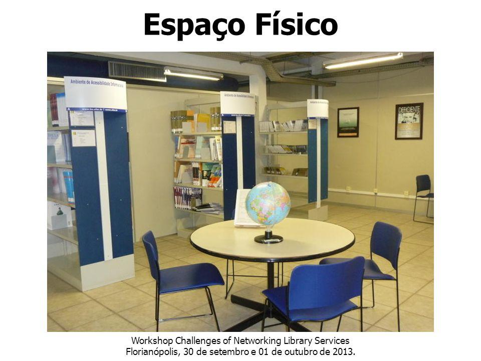Espaço Físico Workshop Challenges of Networking Library Services Florianópolis, 30 de setembro e 01 de outubro de 2013.