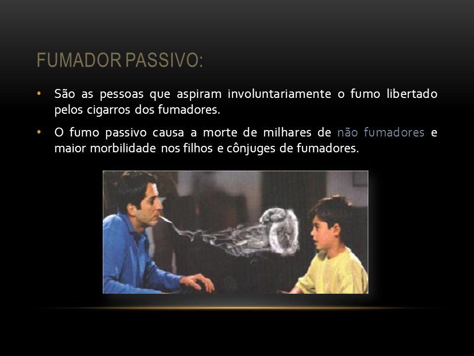 Fumador passivo: São as pessoas que aspiram involuntariamente o fumo libertado pelos cigarros dos fumadores.