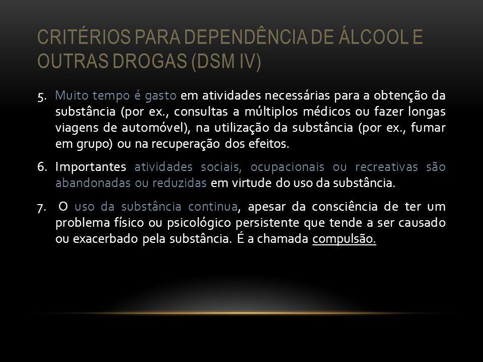 Critérios para dependência de álcool e outras drogas (DSM IV)