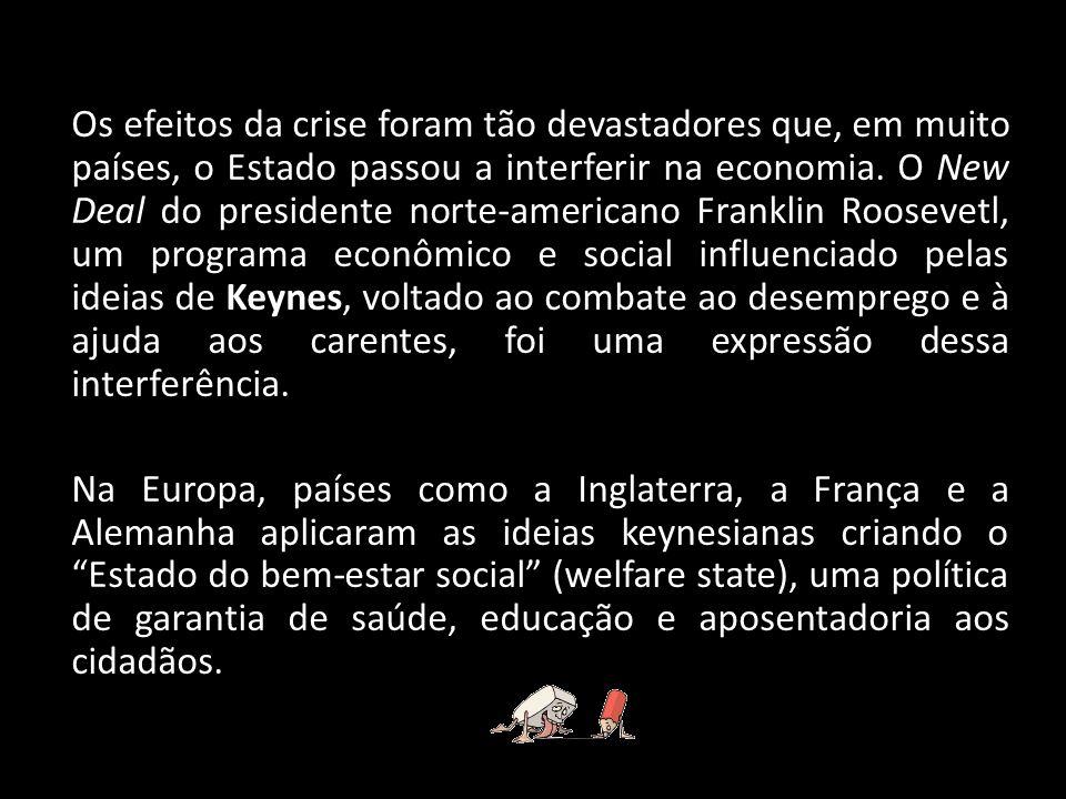 Os efeitos da crise foram tão devastadores que, em muito países, o Estado passou a interferir na economia.