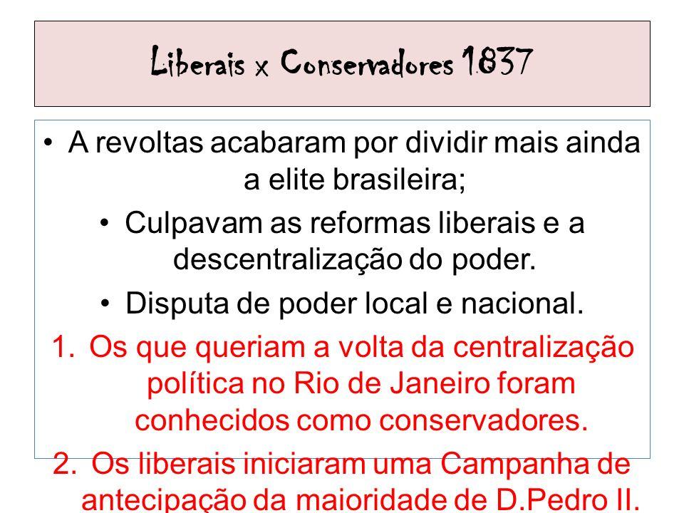 Liberais x Conservadores 1837