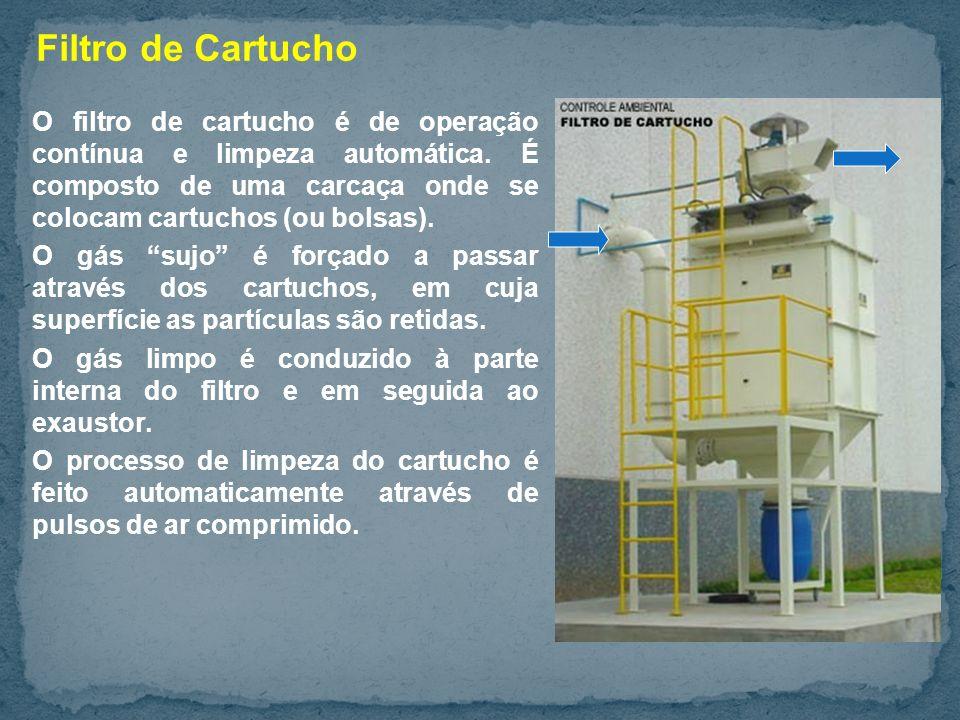 Filtro de Cartucho O filtro de cartucho é de operação contínua e limpeza automática. É composto de uma carcaça onde se colocam cartuchos (ou bolsas).