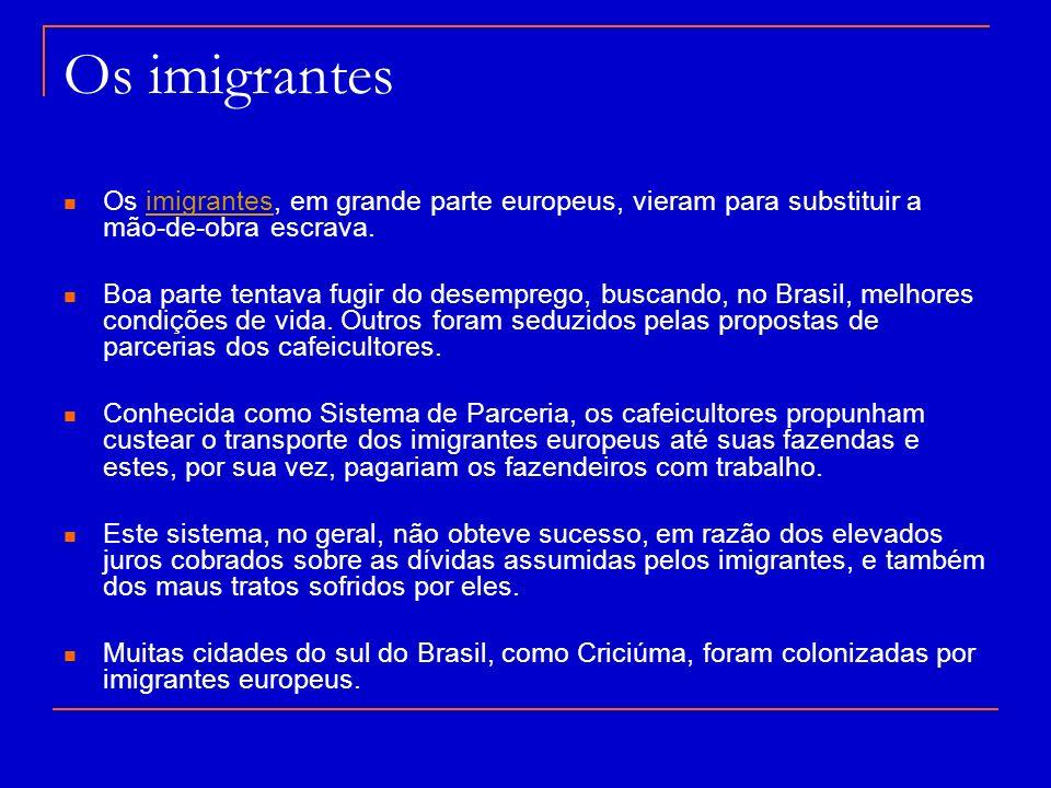 Os imigrantes Os imigrantes, em grande parte europeus, vieram para substituir a mão-de-obra escrava.