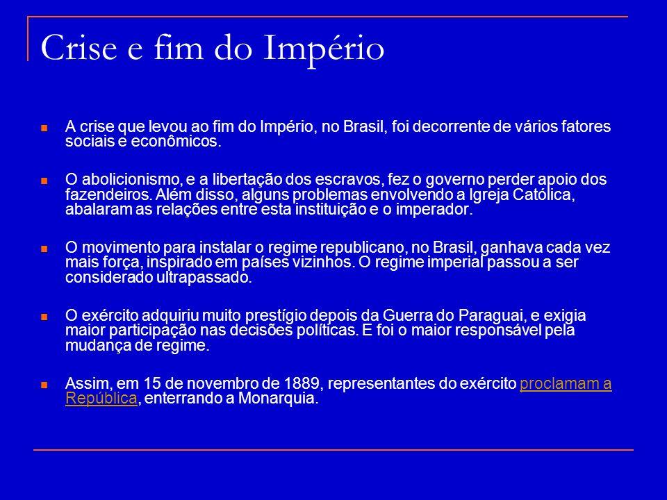 Crise e fim do Império A crise que levou ao fim do Império, no Brasil, foi decorrente de vários fatores sociais e econômicos.