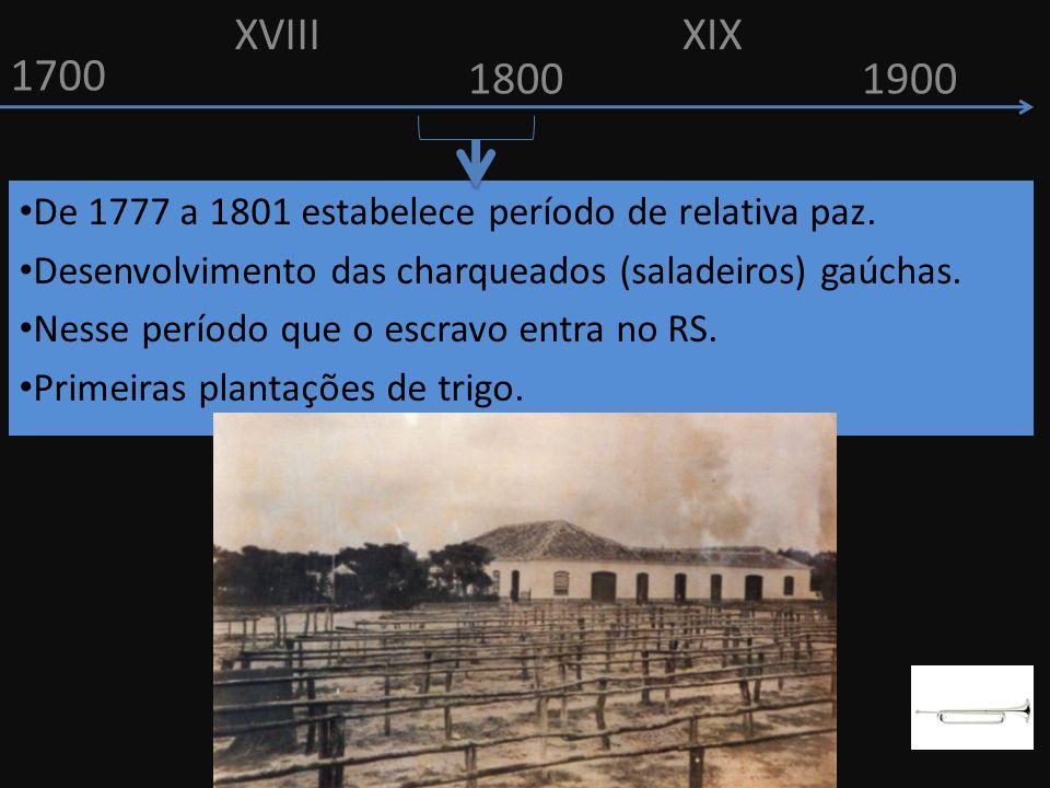 XVIII XIX. 1700. 1800. 1900. De 1777 a 1801 estabelece período de relativa paz. Desenvolvimento das charqueados (saladeiros) gaúchas.