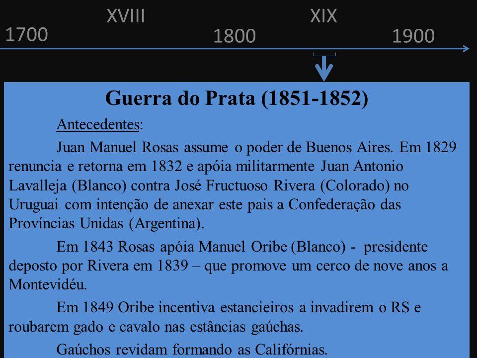 XVIII XIX 1700 1800 1900 Guerra do Prata (1851-1852) Antecedentes: