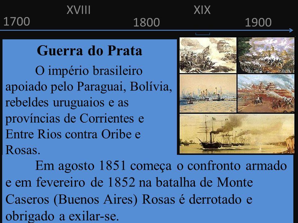 XVIII XIX. 1700. 1800. 1900. Guerra do Prata.