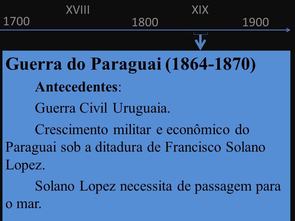 Guerra do Paraguai (1864-1870) Antecedentes: Guerra Civil Uruguaia.
