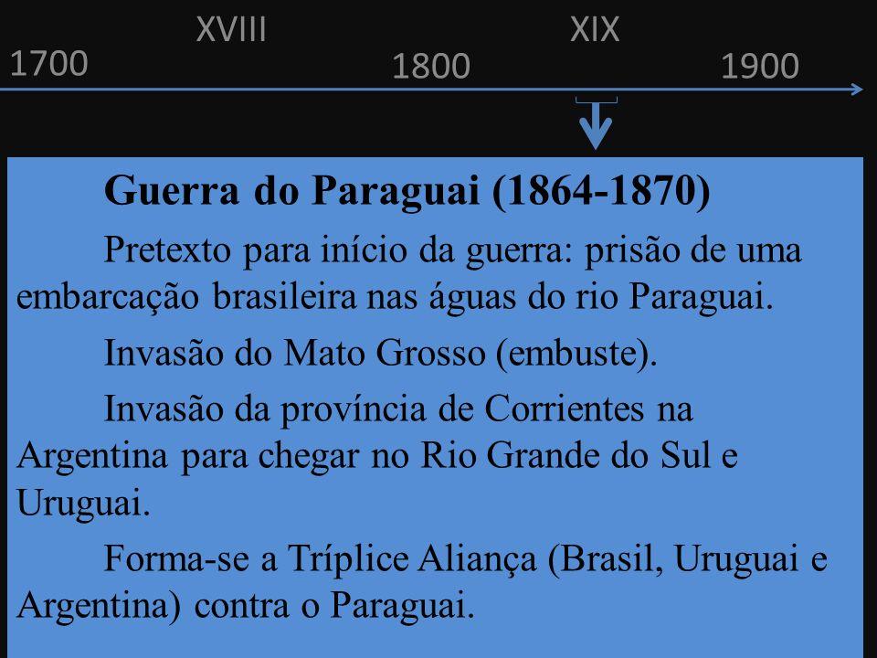 XVIII XIX. 1700. 1800. 1900. Guerra do Paraguai (1864-1870)