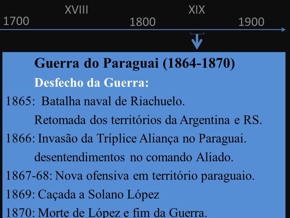 XVIII XIX. 1700. 1800. 1900. Guerra do Paraguai (1864-1870) Desfecho da Guerra: 1865: Batalha naval de Riachuelo.