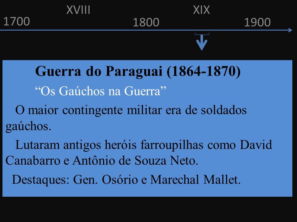 XVIII XIX. 1700. 1800. 1900. Guerra do Paraguai (1864-1870) Os Gaúchos na Guerra O maior contingente militar era de soldados gaúchos.