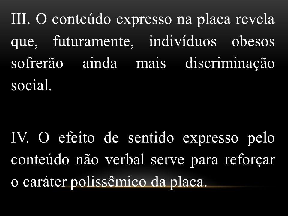 III. O conteúdo expresso na placa revela que, futuramente, indivíduos obesos sofrerão ainda mais discriminação social.