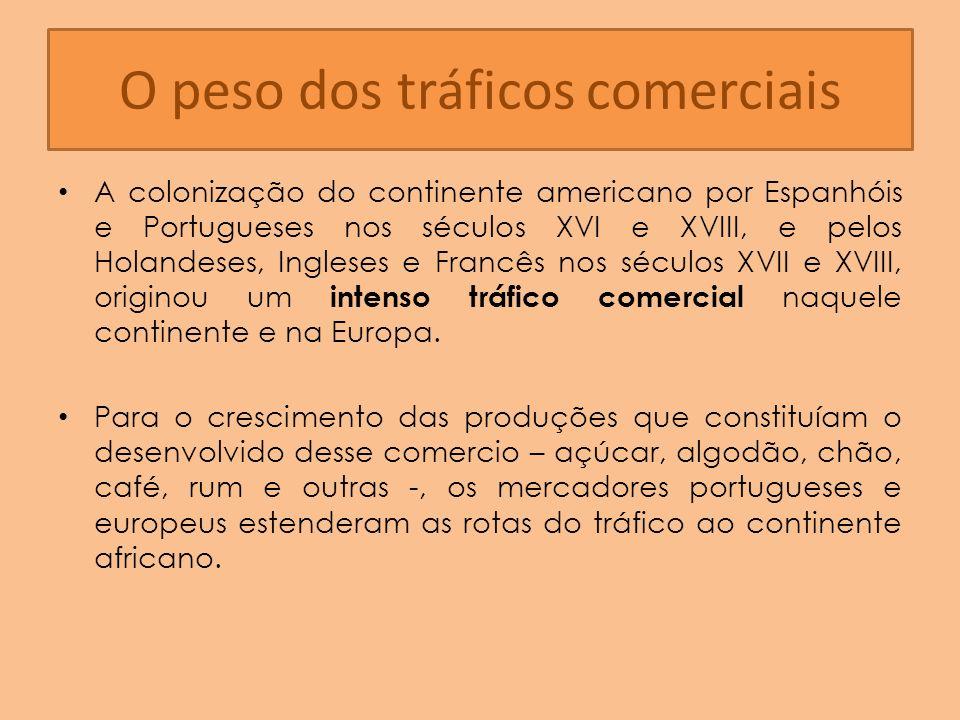 O peso dos tráficos comerciais