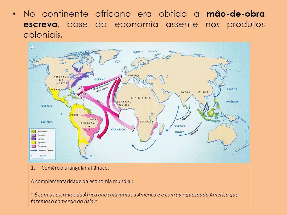 No continente africano era obtida a mão-de-obra escreva, base da economia assente nos produtos coloniais.