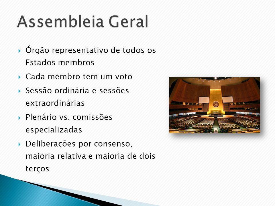 Assembleia Geral Órgão representativo de todos os Estados membros