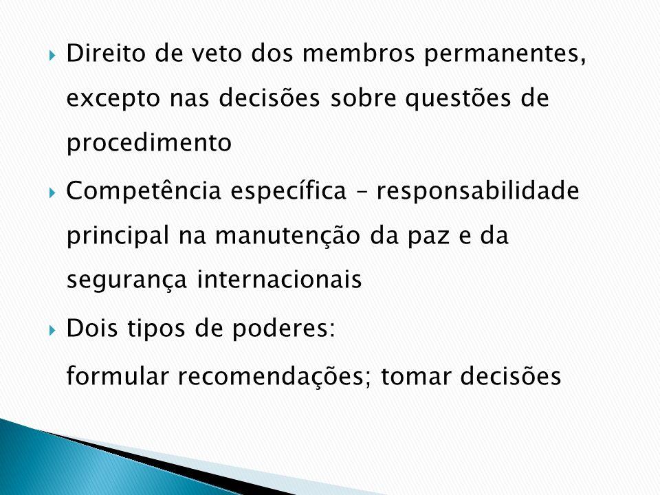 Direito de veto dos membros permanentes, excepto nas decisões sobre questões de procedimento