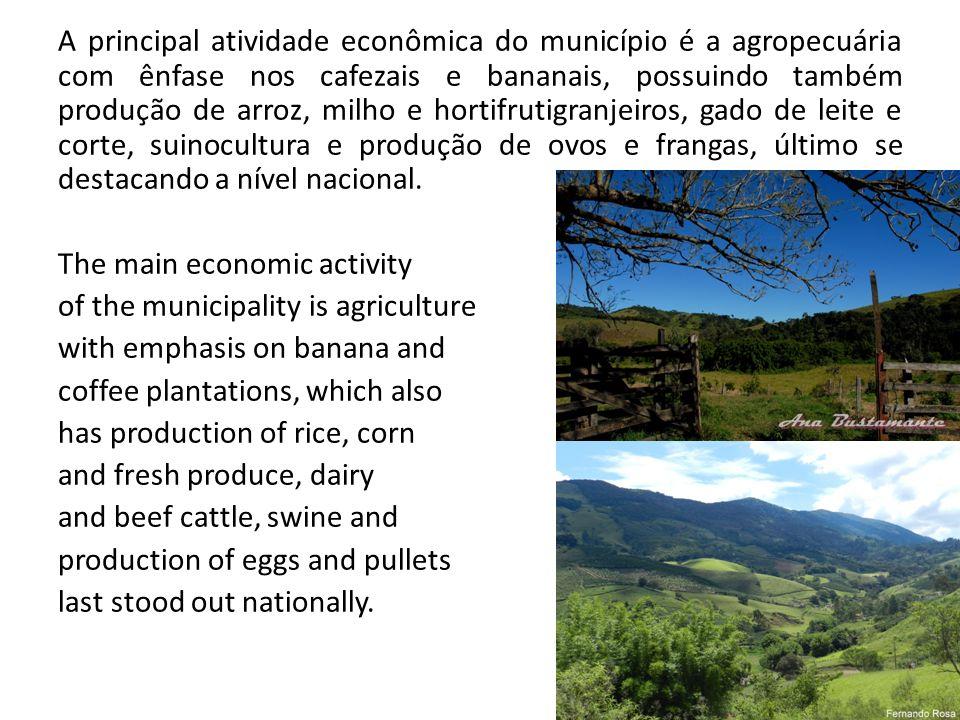A principal atividade econômica do município é a agropecuária com ênfase nos cafezais e bananais, possuindo também produção de arroz, milho e hortifrutigranjeiros, gado de leite e corte, suinocultura e produção de ovos e frangas, último se destacando a nível nacional.