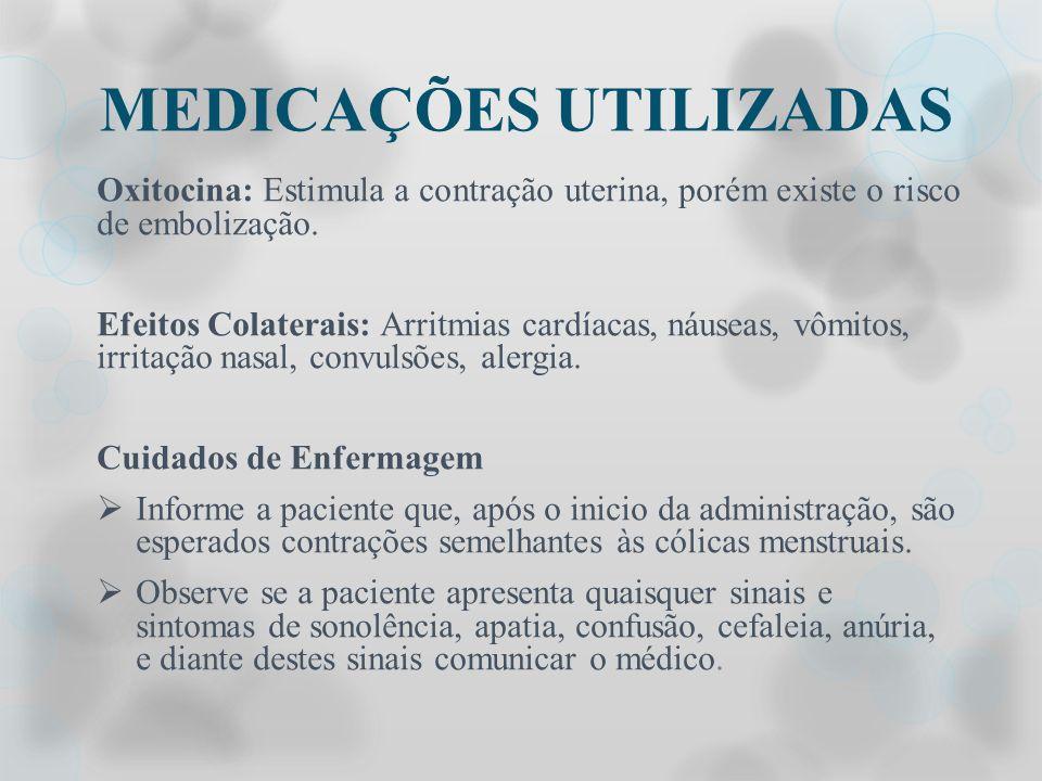 MEDICAÇÕES UTILIZADAS