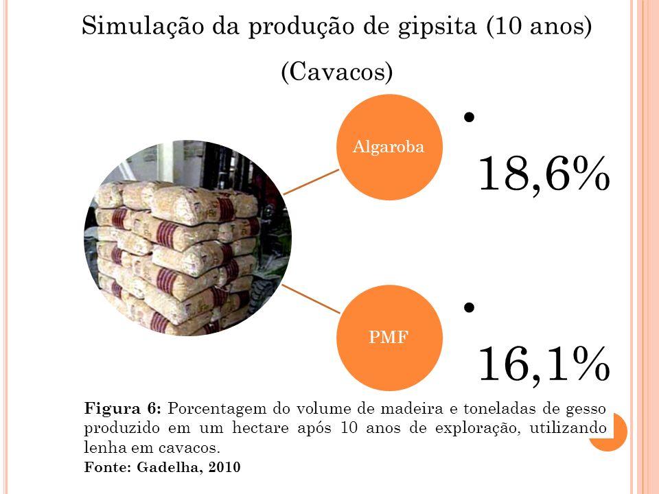 Simulação da produção de gipsita (10 anos)