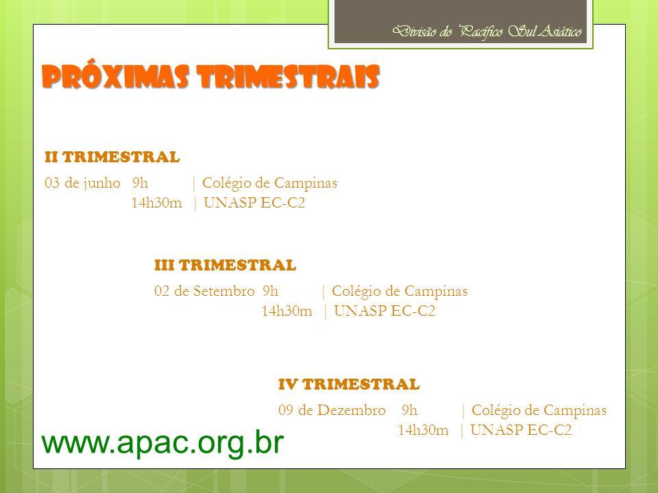 www.apac.org.br Próximas trimestrais Divisão do Pacífico Sul Asiático