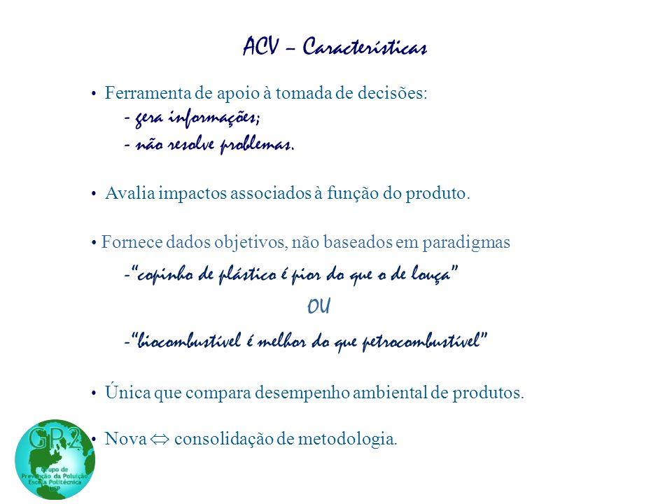 ACV – Características - gera informações; - não resolve problemas.