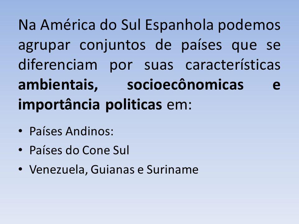 Na América do Sul Espanhola podemos agrupar conjuntos de países que se diferenciam por suas características ambientais, socioecônomicas e importância politicas em: