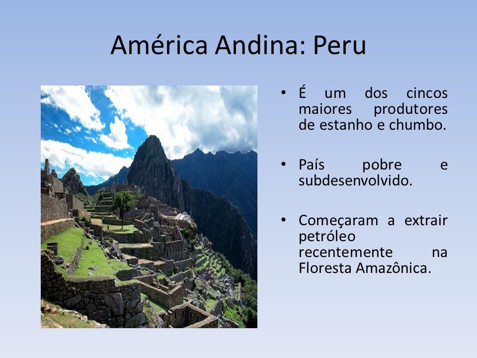 América Andina: Peru É um dos cincos maiores produtores de estanho e chumbo. País pobre e subdesenvolvido.