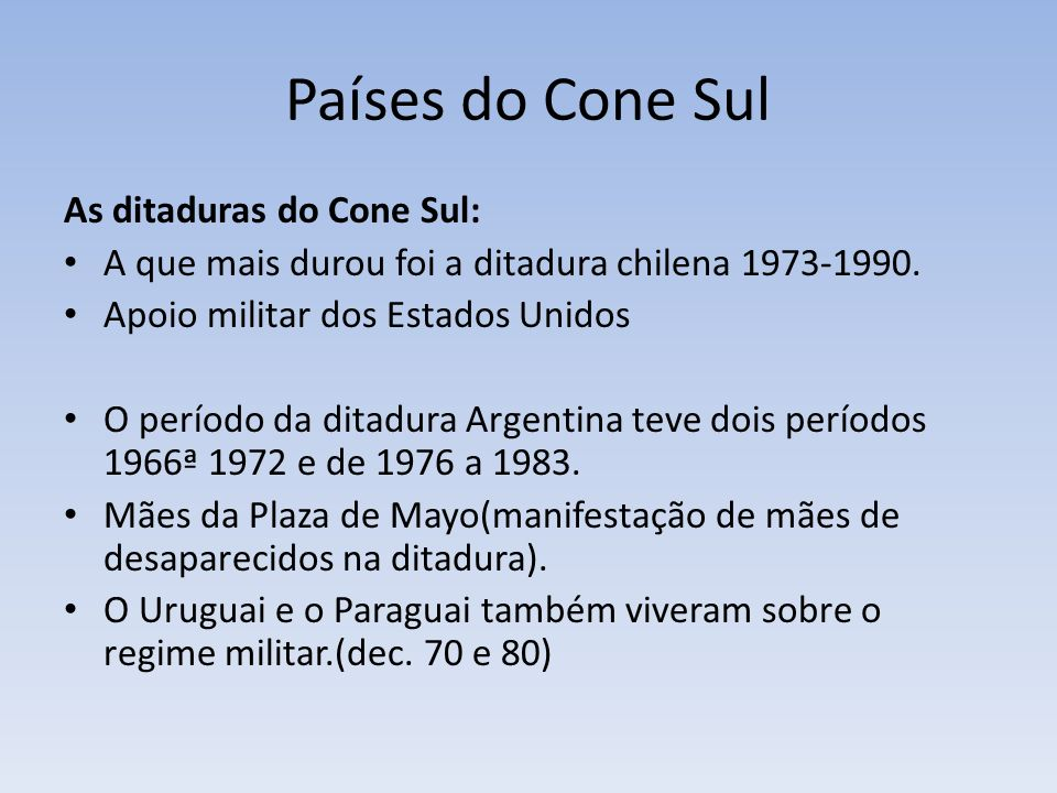 Países do Cone Sul As ditaduras do Cone Sul: