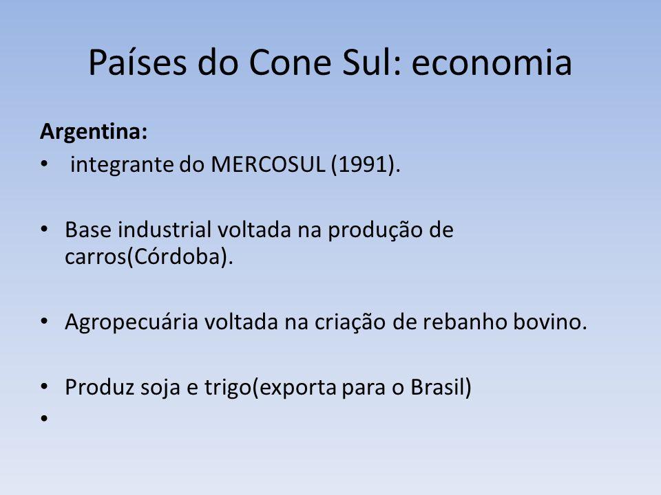 Países do Cone Sul: economia