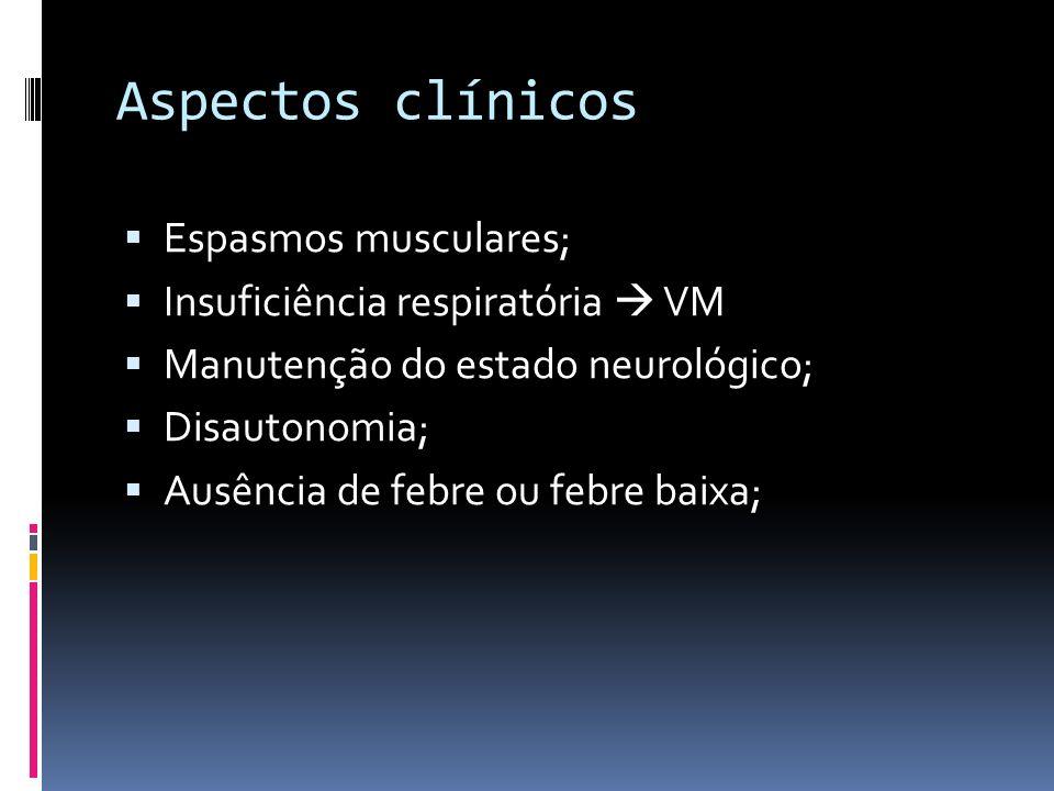 Aspectos clínicos Espasmos musculares; Insuficiência respiratória  VM