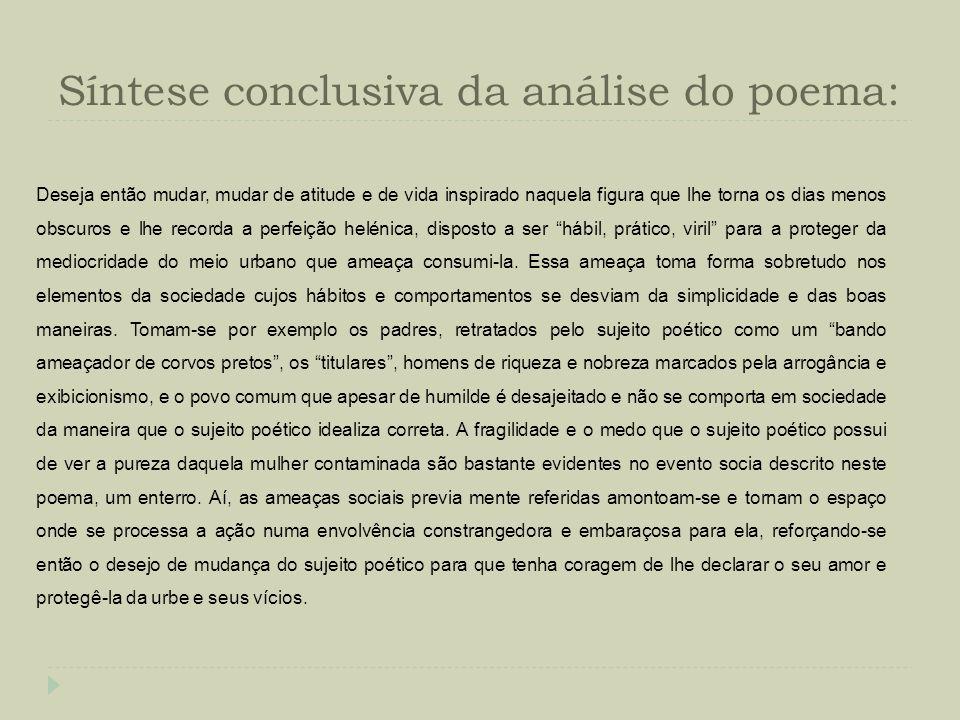 Síntese conclusiva da análise do poema: