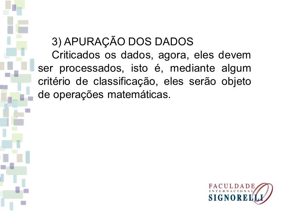3) APURAÇÃO DOS DADOS