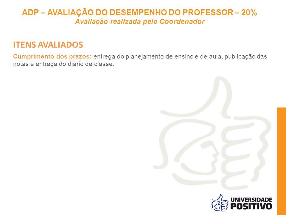 ITENS AVALIADOS ADP – AVALIAÇÃO DO DESEMPENHO DO PROFESSOR – 20%