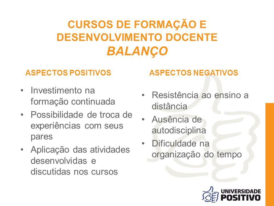 CURSOS DE FORMAÇÃO E DESENVOLVIMENTO DOCENTE BALANÇO