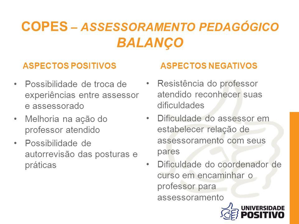 COPES – ASSESSORAMENTO PEDAGÓGICO BALANÇO