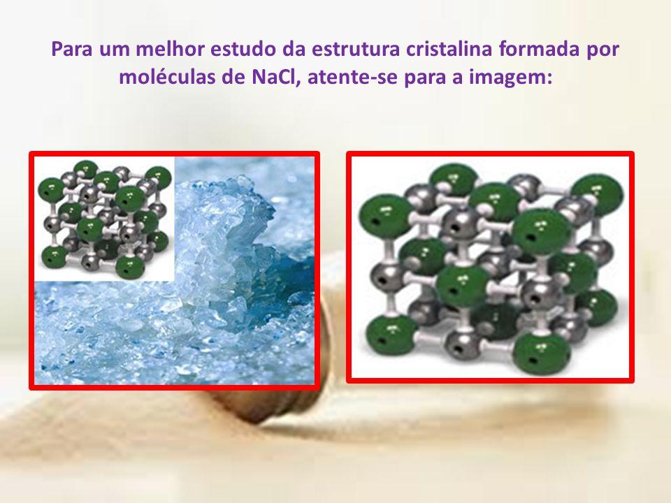Para um melhor estudo da estrutura cristalina formada por moléculas de NaCl, atente-se para a imagem: