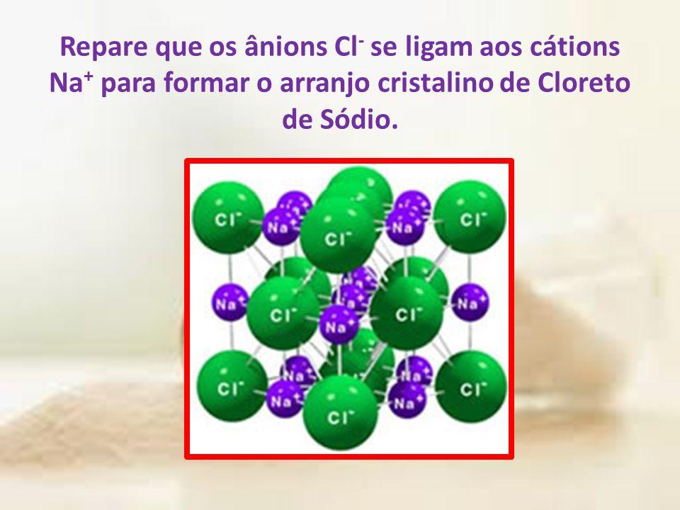 Repare que os ânions Cl- se ligam aos cátions Na+ para formar o arranjo cristalino de Cloreto de Sódio.