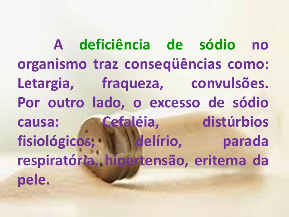 A deficiência de sódio no organismo traz conseqüências como: Letargia, fraqueza, convulsões.