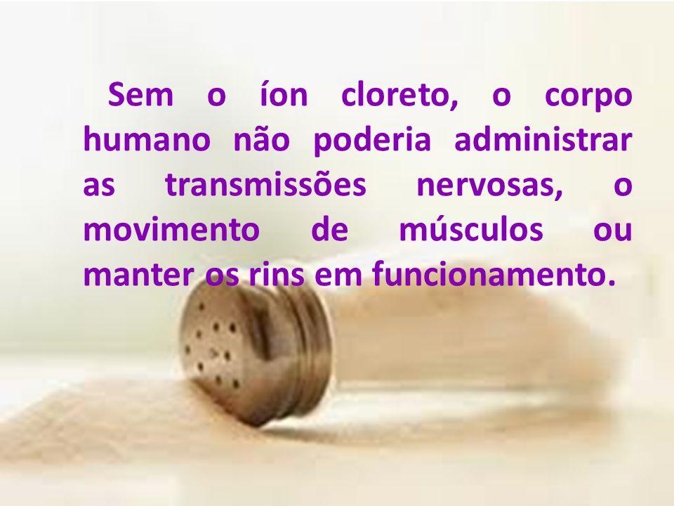 Sem o íon cloreto, o corpo humano não poderia administrar as transmissões nervosas, o movimento de músculos ou manter os rins em funcionamento.