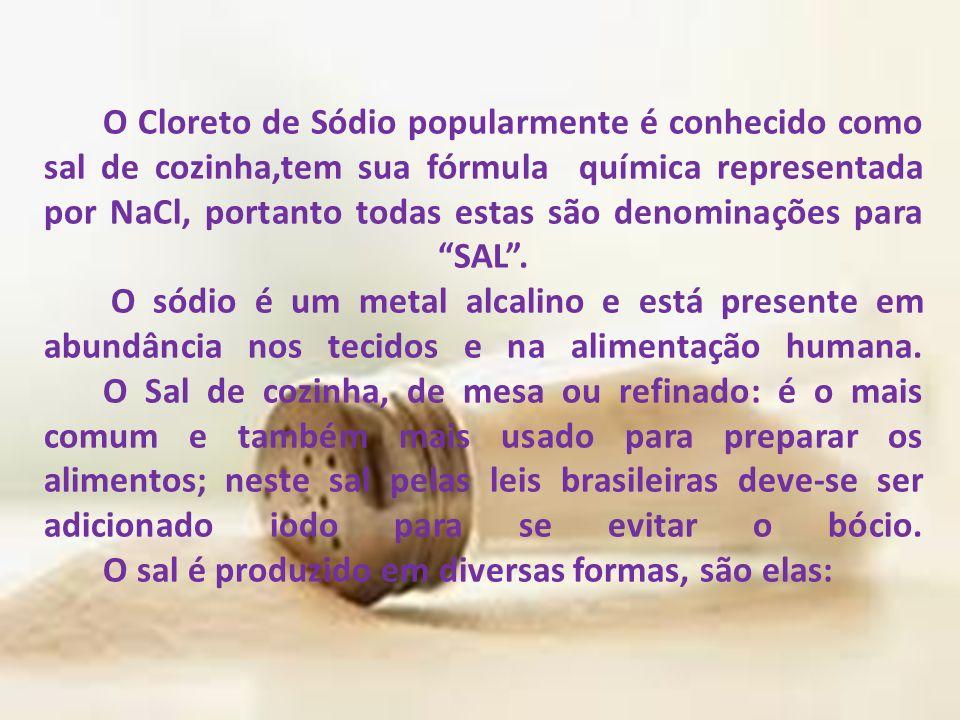 O Cloreto de Sódio popularmente é conhecido como sal de cozinha,tem sua fórmula química representada por NaCl, portanto todas estas são denominações para SAL .
