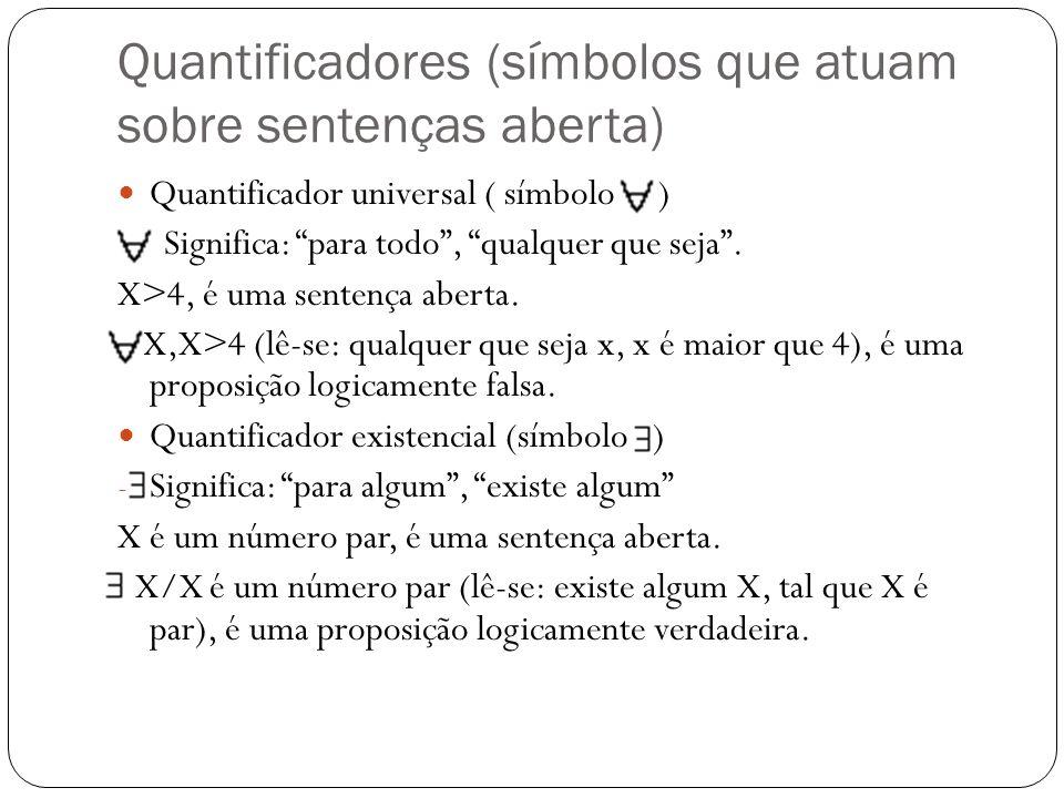 Quantificadores (símbolos que atuam sobre sentenças aberta)