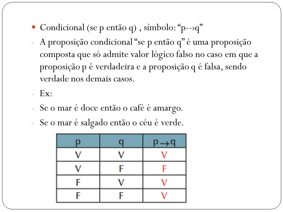 Condicional (se p então q) , símbolo: p--›q