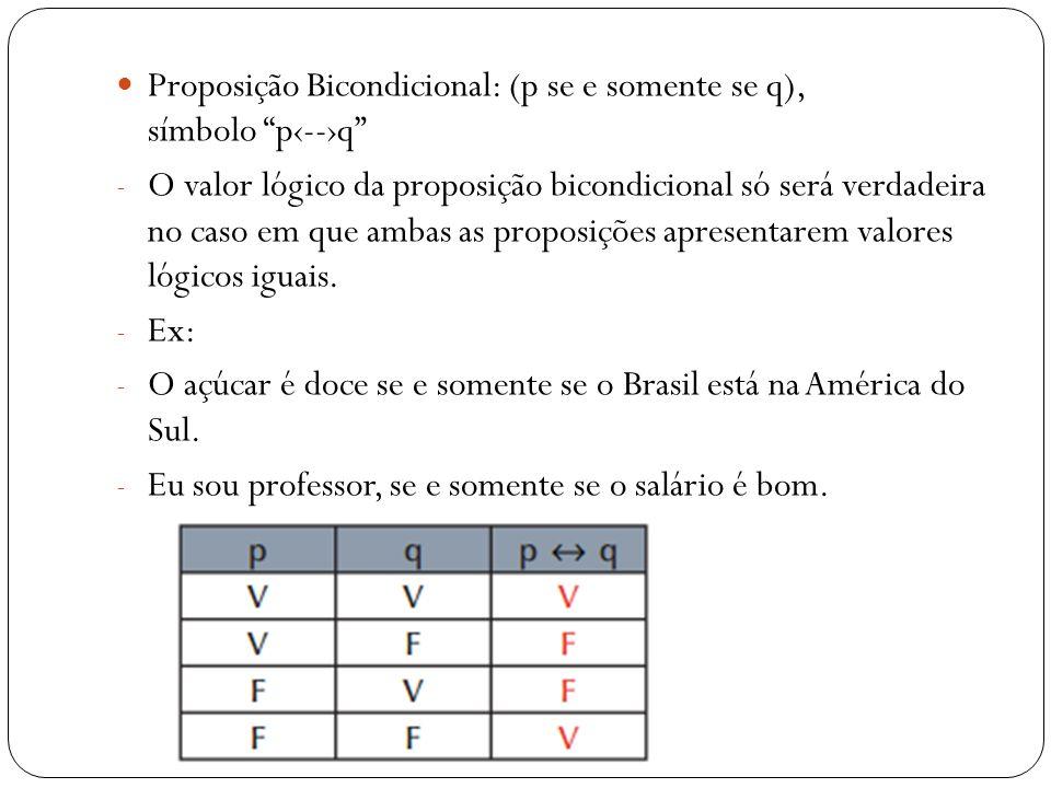Proposição Bicondicional: (p se e somente se q), símbolo p‹--›q