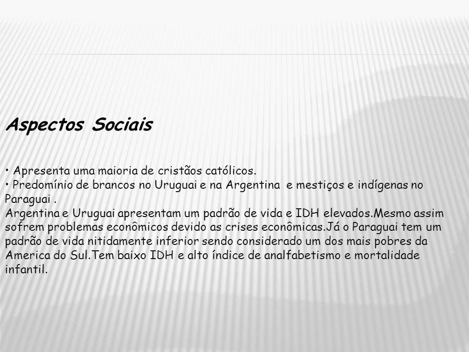 Aspectos Sociais • Apresenta uma maioria de cristãos católicos.