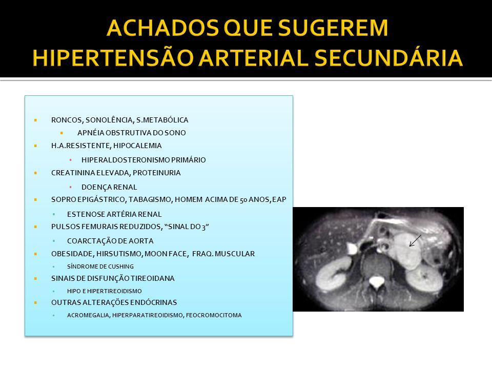 ACHADOS QUE SUGEREM HIPERTENSÃO ARTERIAL SECUNDÁRIA
