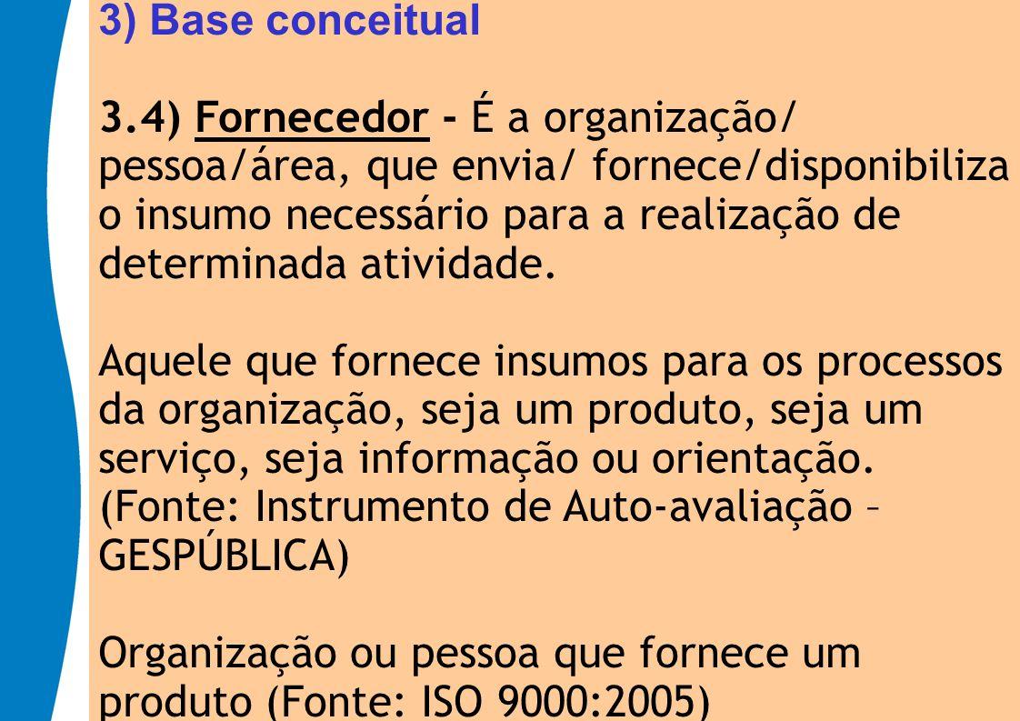 3) Base conceitual 3.4) Fornecedor - É a organização/ pessoa/área, que envia/ fornece/disponibiliza o insumo necessário para a realização de.