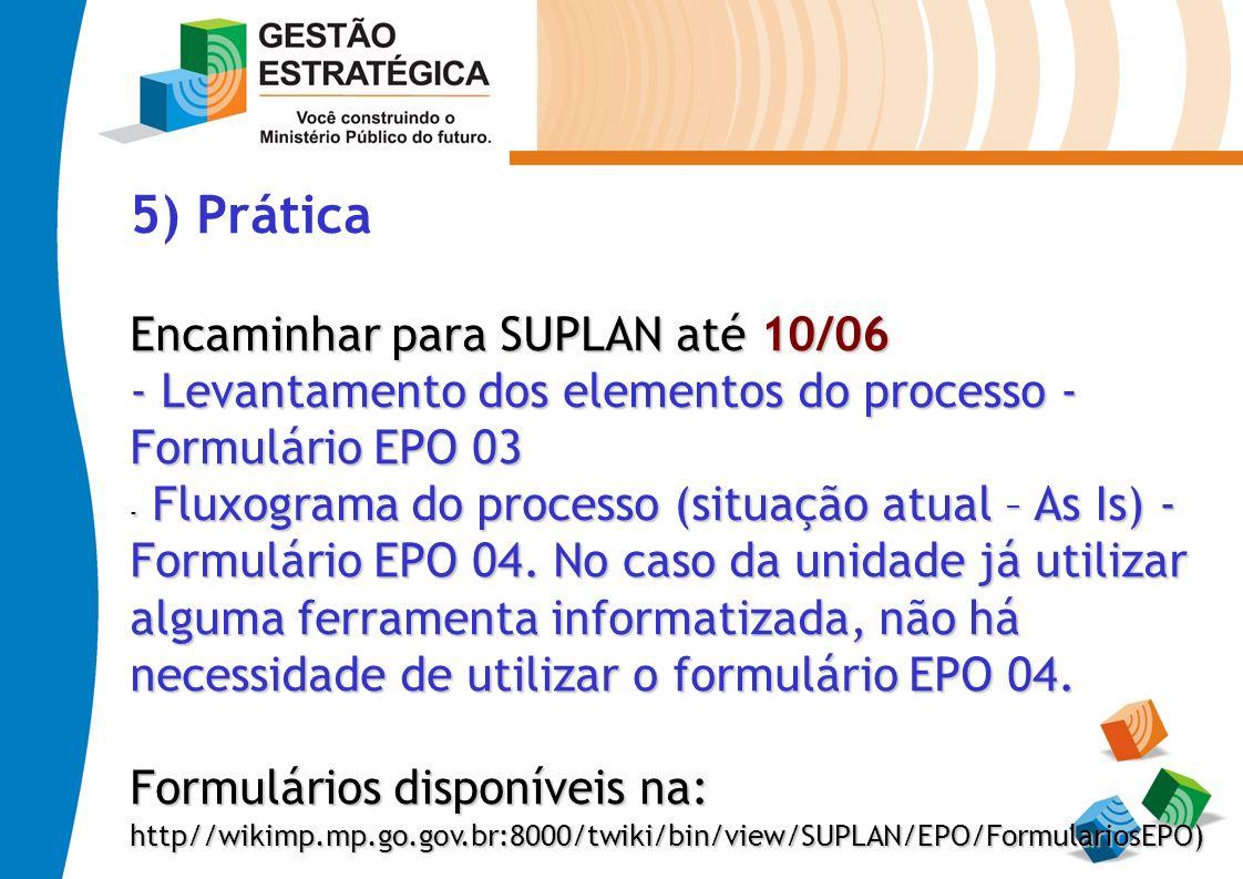 5) Prática Encaminhar para SUPLAN até 10/06