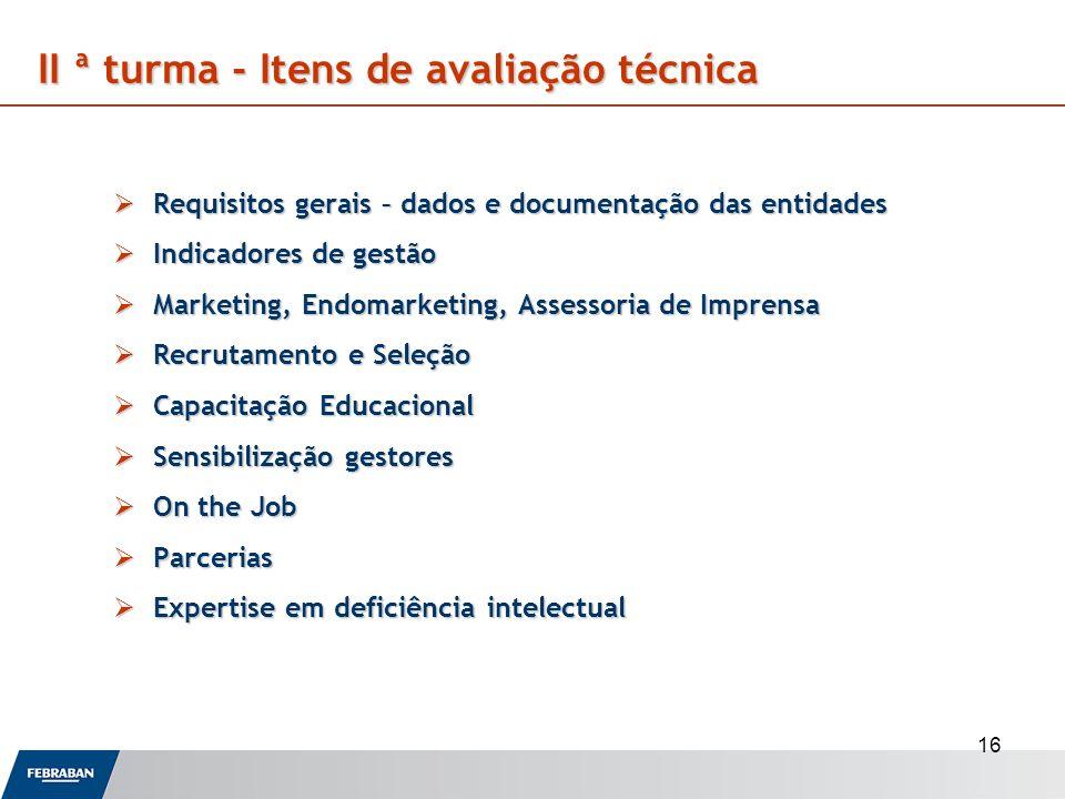 II ª turma - Itens de avaliação técnica