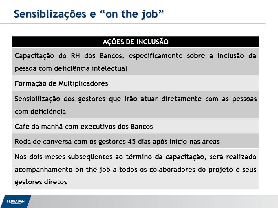 Sensiblizações e on the job